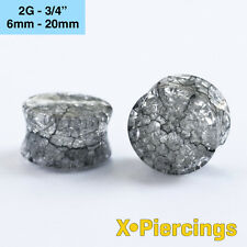 Shattered Cracked Glass Look Acrylic Plug Tunnel Black 1pc 6mm - 20mm 2g - 3/4 x
