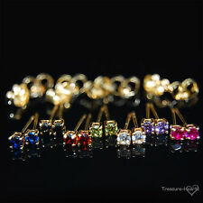 18k Yellow Gold GF Small 3mm Stud Earrings with Color Swarovski Crystal CZs Tiny
