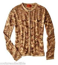 NEW! Missoni Target Knit Sweater Cardigan Space-Dye Gold Brown chevron light