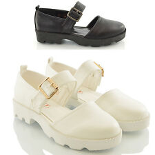 WOMENS CUT OUT CLEATED SOLE MOCCASINS LADIES MARY JANE T BAR LOAFERS SHOES SIZE