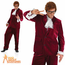 60s Gigolo Costume Groovy Powers Mens Fancy Dress Red Austin Suit Outfit New