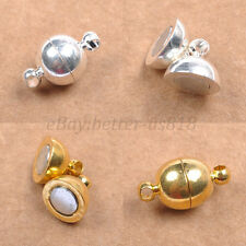 GOLD & SILVER PLATED Round Powerful - MAGNETIC Clasps & Hooks 6MM 8MM 10MM 12MM