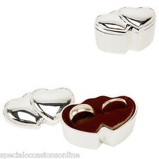 Personalised Double Hearts Silver Plated Wedding Rings Box - Wedding Gift WY6568