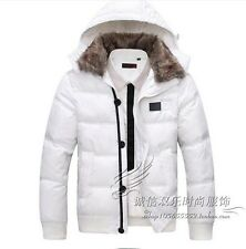 Mens Fur Collar Hooded Down Cotton Jacket Slim Short Thick Winter Outwear Size