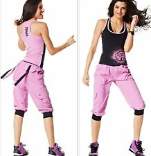 ZUMBA  FITNESS ~ 2 PIECE SET!! ~ CARGO Capri PANTS & Top Shirt RACERBACK~ S M L