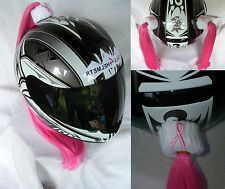 BREAST CANCER  HELMET PIGTAILS or PONY TAIL ..MOTORCYCLE,SKATEBOARD, BIKE or ATV