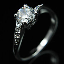 White Gold GF Womens Solitaire Engagement Ring with Created Diamond 0.75 carat