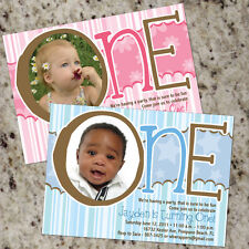 ONE-derful - First Birthday Boy or Girl Birthday Party Invitations