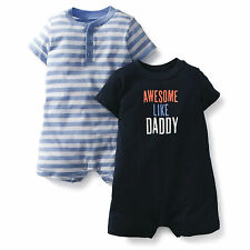 NWT Carter's Baby Boy infant Clothes 2-Pack set Jersey Rompers 3M 6M 9M 12M