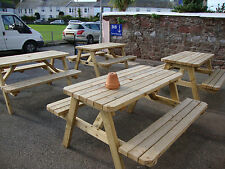 HEAVY DUTY  WOODEN GARDEN BENCH /PUB PICNIC TABLE, VARIOUS SIZES
