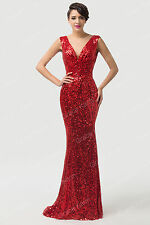 Vintage Sparkling Mermaid Sequins Prom Party Bridesmaid Gowns Evening Long Dress
