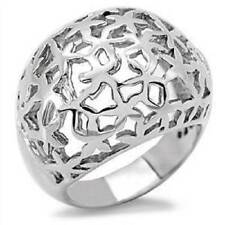 TK132p  DOME BASKET WEAVE WOMENS RING BAND NO STONE STAINLESS STEEL  NO TARNISH