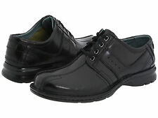 $90 NEW! MENS CLARKS TOUAREG BLACK LEATHER BICYCLE TOE SHOES OXFORDS 70851 SIZE