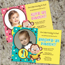 Go Bananas - Little Monkey Themed Birthday Party Invitations - Boy or Girl