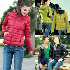 Womens Windbreaker Winter Autumn Candy Color Thin Slim Down Coat Jacket Overcoat