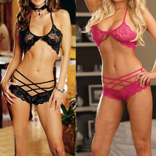 Womens Sexy Erotic Lingerie Sexy Hollow Lace Bra + Panties Underwear