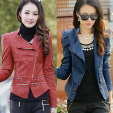 Women & girls Slim PU Faux Leather Motorcycle short Zipper Jacket Lapel Coat WW