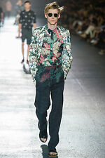 AUTH DRIES VAN NOTEN MULTICOLORED COTTON BLEND PANTS RUNWAY SS'14