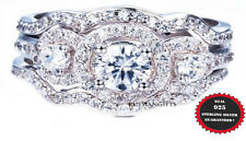 3 PC set 2.80 Ct AAA CZ real  925 Sterling Silver Wedding Ring Women's Sz 4-10.5