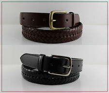NWT COACH Mens Brown/Black Leather Braided Woven Belt Brass/Silver Buckle F66104