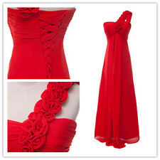FREE SHIP Lucky Red Flower 1 Shoulder Bridesmaid Chiffon Evening Cocktail Dress