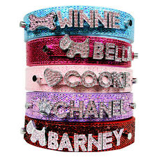 Bling Personalized Dog Puppy Collars With 6 Pink Letters & 1 Charm XL L M S XS