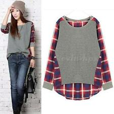 New Plaid Long-sleeved Loose Stitching Code Base Shirt Round Neck T-shirt EVHG