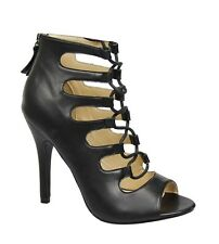Women Open Toe Stiletto Heel Back Zipper Lace Up Gladiator Bootie Pump Shoe