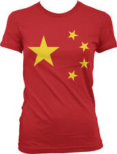 China Chinese Flag Insignia Five Star Zhōngguó Juniors Girls T-shirt