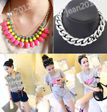 Fashion Jewelry Pendant Crystal Chain Choker Necklace Statement Bib Chunky 429UK