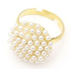 New Hot Circle White Pearl Gold Plated Stud  Rings