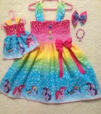 New RARE Handmade Little Pony Dress Toddler/Girls (2T-7/8Y)  HairBow, Doll Dress