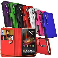 Leather Wallet Case, Earphones, Retractable Pen  Film For Various Mobile Phones