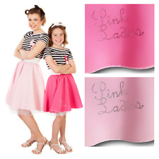 ROCK AND ROLL Pink ladies SKIRT 1950S GREASE JIVE LADIES FANCY DRESS COSTUME