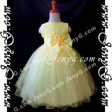 #SB01 Flower Girls/Formal/Pageant/Christening Gowns Dresses, Yellow 0-4 Years
