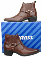 Mens New Brown Pull On Cowboy Western Ankle Boots Size 6 7 8 9 10 11 12