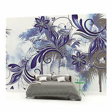 Blue and Grey Palm Pattern Photo Wallpaper Wall Mural (CN-406P)