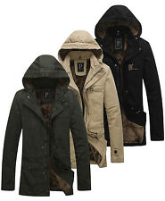 Luxury Mens Winter Warm Coat Trench Fully fur lined Jacket Hooded Parka Overcoat