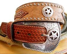 Nocona Western Mens Belt Leather Hair Studded Rich Earth N2506808