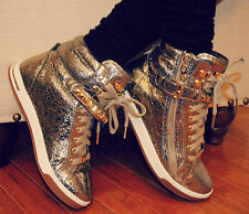 $195 MICHAEL KORS Glam Studded High Top Leather Sneakers Rose Gold Metallic