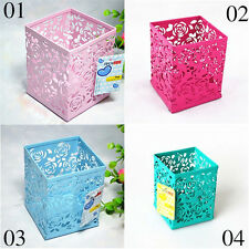 Hollow Rose Flower Beautiful Metal Pen Holder Organizer ~ Office Desk Containers