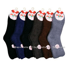 6,12 PAIRS Lot DOZEN WOMEN PLAIN FUZZY SUPER SOFT WINTER SLIPPER SOCKS SIZE 9-11