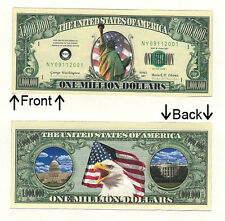 Bald Eagle One Million Dollars Bill Novelty Notes 1 5 25 50 100 500 or 1000