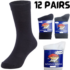 12x Pairs SCHOOL SOCKS Plain Cotton Rich Girls Boys No Seam School Uniform BULK