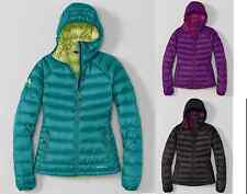 NWT Eddie Bauer Womens First Ascent Downlight Linear Hooded Jacket Black/Purple