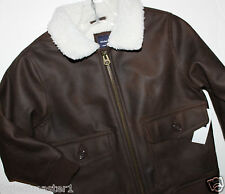 baby Gap NWT Boy's 18 24 Mo. 2T 4T 5T Brown Faux Leather Bomber Moto Jacket