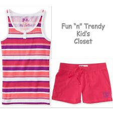 NWT PS Aeropostale Kids Girls Size 7 & 8 Knit Shorts Tank Top Shirt OUTFIT SET