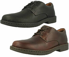 STRATTON WAY- MENS CLARKS BLACK, BROWN LEATHER CASUAL LACE UP COMFY SHOES