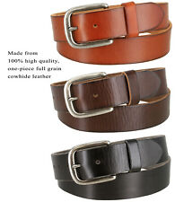 "Men's Full Grain Cowhide Leather Casual Jean Belt 1-1/2"" Wide, Black Brown Tan"