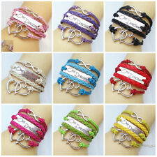 One Direction Sweet Heart 9 Style Leather Cute Infinity U pick Bracelets Jewelry